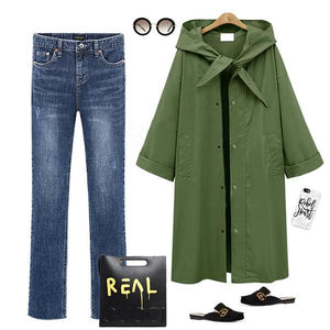 Fashion Long Section Solid Color Windbreaker Coat Outwear