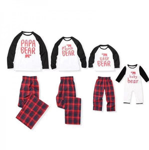 Plaid Cartoon Bear Letters Pattern Color Block Family Outfits