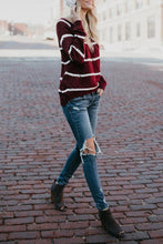 Load image into Gallery viewer, Round Neck  Color Block Striped Sweaters