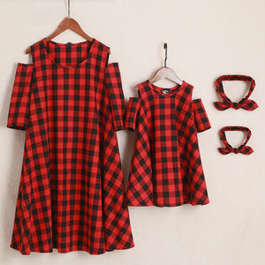 Mom Girl Plaid Cold Shoulder Matching Dress With Headband