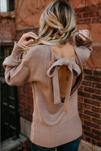 Load image into Gallery viewer, Round Neck  Bowknot  Back Hole  Plain Sweaters