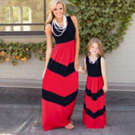 Mom Girl Stripes Color Block Floor Length Matching Dress