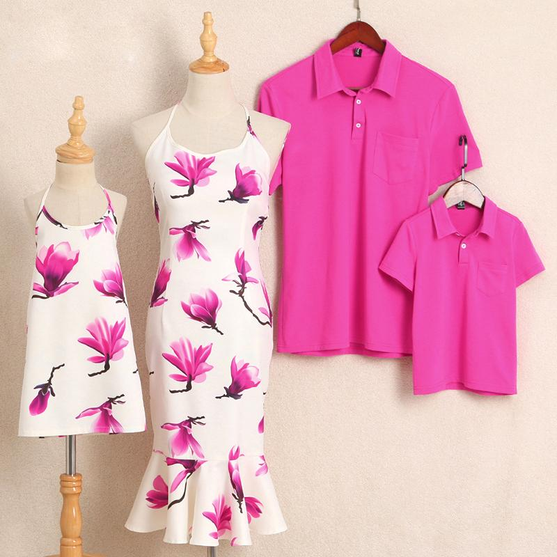 Flower Prints Halter Turn-Down Collar Family Outfits