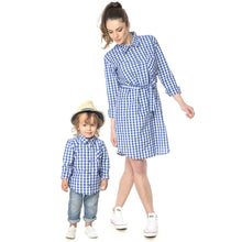 Load image into Gallery viewer, Plaid Turn-Down Collar Family Outfits