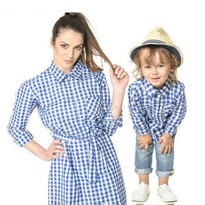 Plaid Turn-Down Collar Family Outfits
