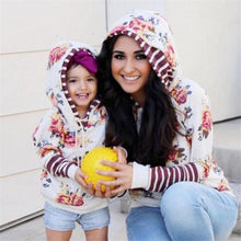Load image into Gallery viewer, Mom Girl Flower Prints Stripes Matching Hooded Sweatshirt