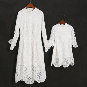 Mom Girl Lace Trumpet Sleeve Zipper Back Matching Dress