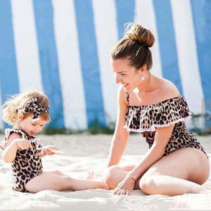 Mommy and Me Leopard Paternity Swimwear