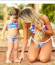 Load image into Gallery viewer, Mommy and Me Flower Prints Stripes Family Swimsuit