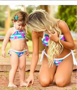 Mommy and Me Flower Prints Stripes Family Swimsuit