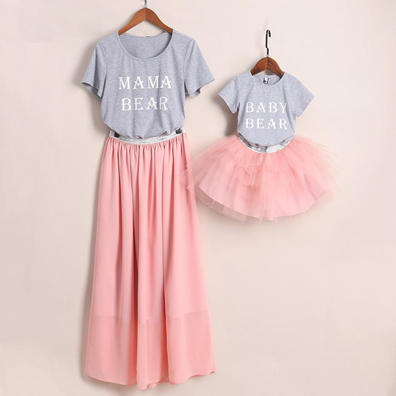 Mom Girl Letters Pattern Color Block Matching Outfits