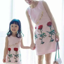 Load image into Gallery viewer, Mom Girl Rose Pattern Sundress