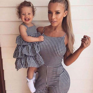 Mom Girl Plaid Cami Matching Outfits