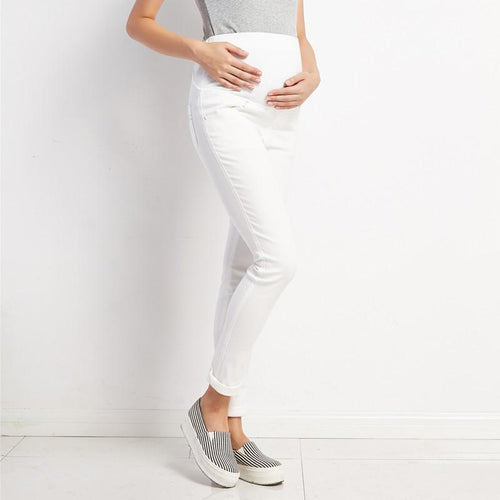 Maternity Solid White Abdomen Supportive Fashion Pants