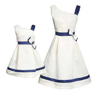 Mom Girl Bowknot Decorated One Shoulder Matching Dress