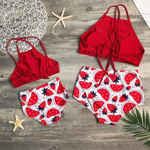 Mom Girl Strawberry Watermelon Prints Matching Swimsuit