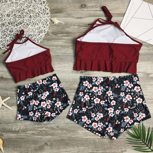Mom Girl Botanical Prints Ruffle Trim Matching Swimsuit