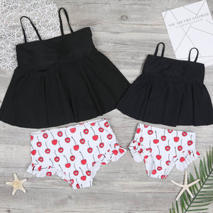 Mom Girl Cherry Prints Matching Swimsuit