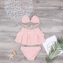 Load image into Gallery viewer, Mom Girl Pink Ruffle Trim Halter Matching Swimsuit