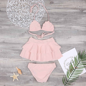 Mom Girl Pink Ruffle Trim Halter Matching Swimsuit