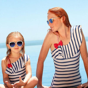 Mom Girl Stripes One Shoulder Bowknot Decorated Matching Swimsuit
