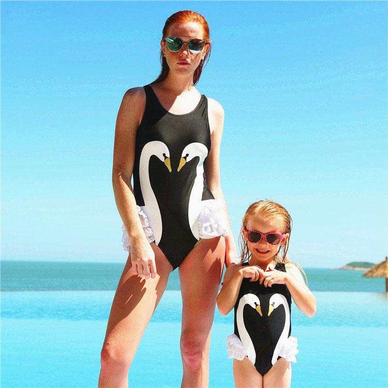 Mom Girl Swan Pattern One Piece Matching Swinsuit