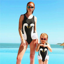Load image into Gallery viewer, Mom Girl Swan Pattern One Piece Matching Swinsuit