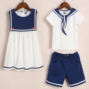 Brother Sister Sailor Collar Matching Outfits