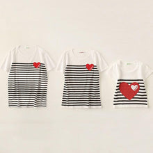 Load image into Gallery viewer, Stripes Heart Pattern Round Neck Family T-Shirt