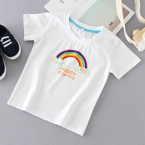 Cartoon Rainbow Letters Pattern Family T-Shirt