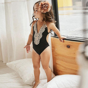 Mom Girl Lace Patchwork Backless Matching Swimwear