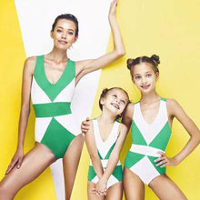 Load image into Gallery viewer, Mom Girl Color Block Backless Matching Swimwear
