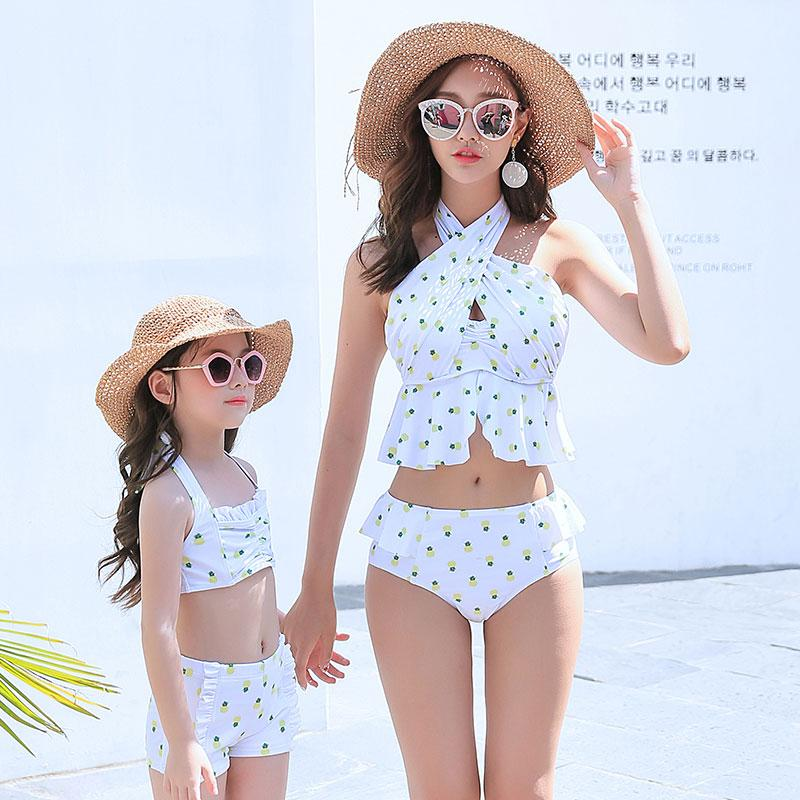 Mom Girl Pineapple Prints Halter Matching Swimsuit