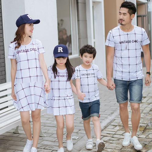 Plaid Letters Pattern Family Outfits