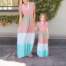 Load image into Gallery viewer, Mom Girl Large Stripe Stitching Dress