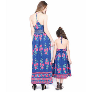 Mom Girl Flower Prints Backless Matching Dress