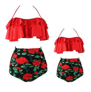 Mommy And Me Mom Girl Botanical Prints Halter Matching Swimwear