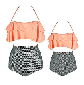 Mom Girl Ruffle Trim Halter Matching Swimwear