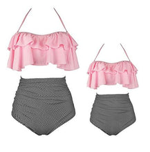 Load image into Gallery viewer, Mom Girl Stripes Ruffle Trim Matching Swimwear