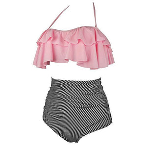 Mom Girl Stripes Ruffle Trim Matching Swimwear