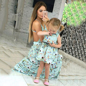 Mom Girl Graffiti Prints Matching Dress