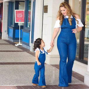 Mom Girl Solid Color Matching Suspender Flares