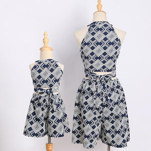 Mom Girl Geometric Pattern Prints Matching Sets
