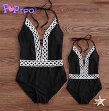 Load image into Gallery viewer, Mom Girl Lace Patchwork Halter Matching Swimwear