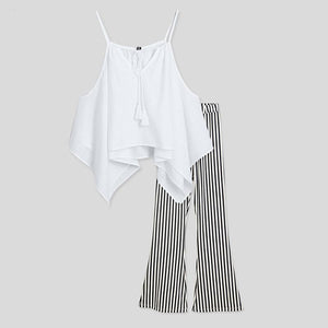 Mom Girl Contrast Stripes Cold Shoulder Matching Outfits