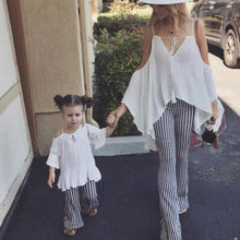 Load image into Gallery viewer, Mom Girl Contrast Stripes Cold Shoulder Matching Outfits