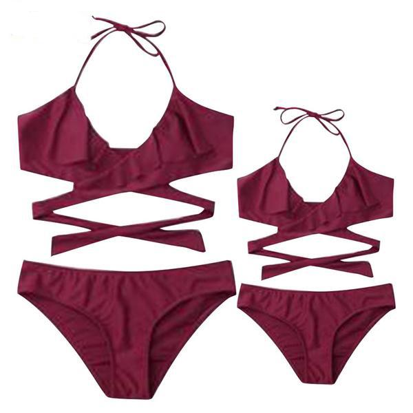 Mom Girl Solid Color Halter Matching Swimwear