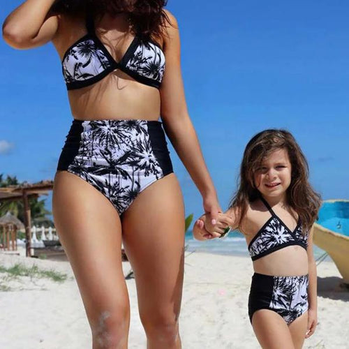 Mom Girl High-Waist Floral Bikini Swimsuit Set