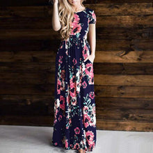 Load image into Gallery viewer, Floral Print Side Pocket Floor-Length Dress