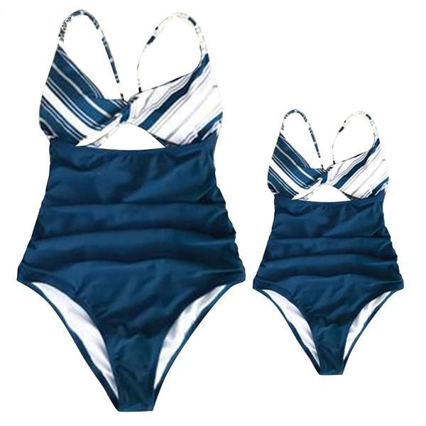 Mom Girl Stripes Matching One Piece Swimwear